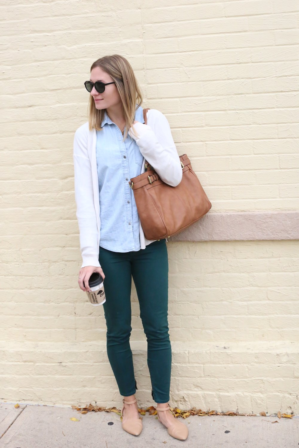 Colored denim + basics