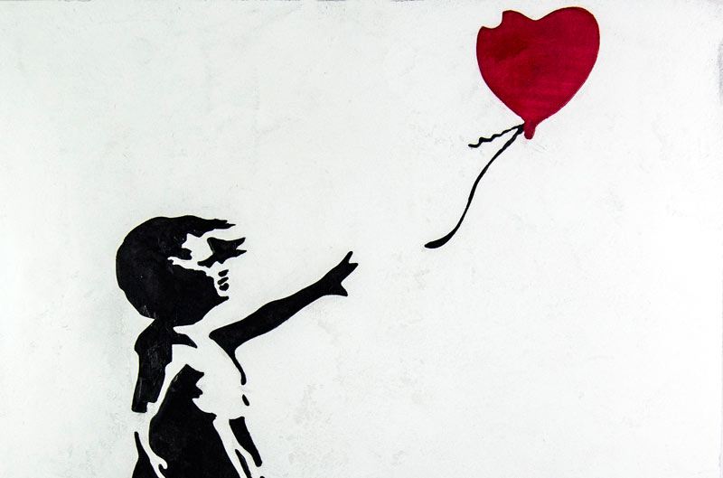Marmorino white background, black stucco & wax with red stucco T214 Banksy hope balloon girl