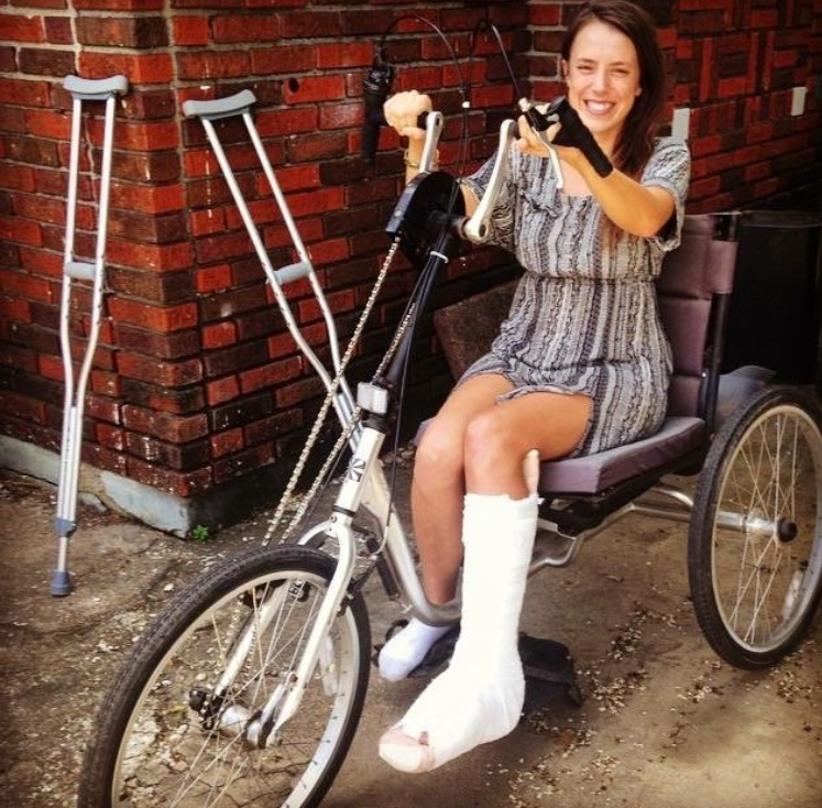 Neighbors and friends brought me a hand bike to use while I couldn't use my feet!