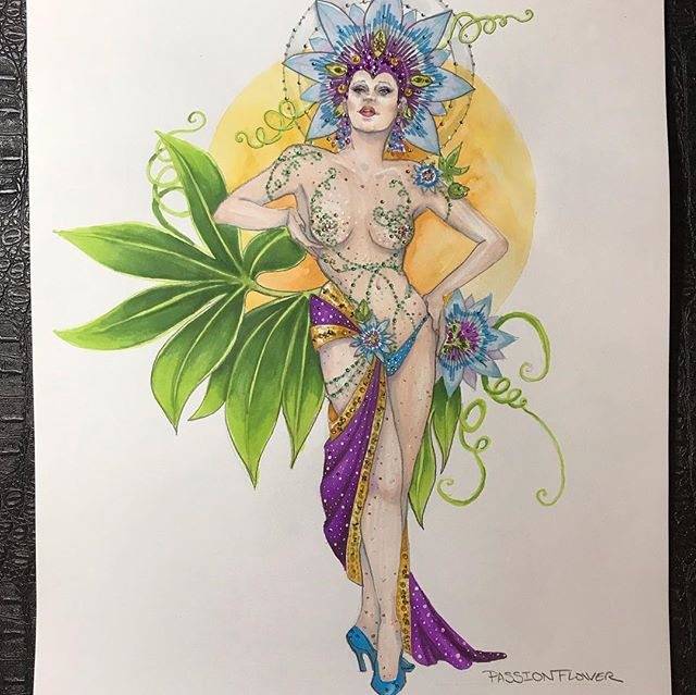 The #passionflower #showgirl is finally glammed out and finished. Ready to go on a wall :) swipe through to see her sparkle in action ;) . . . . . #costumedesign #costumerendering #costumedesigner #costumeillustration #showgirllife #showgirlcostume #burlesque #floralinspired #swarovski #rhinestones #fashionplate #fashionrendering #nudeillusion #prismacolormarkers #watercolor