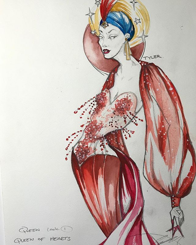 """#happyvalentinesday I thought I would look back on all of my """"red"""" #costumerenderings for this holiday! . . . . #costumedesigner #costumerendering #costumerenderings #costumeillustration #costumeillustrations #fashionplates #reddress #theatredesign #theatredesigner #beading #prismacolormarkers #watercolors #glitterandbegay #bemyvalentine #single"""