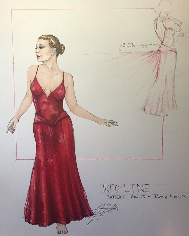 """Tonight is the night! Come see @batterydance at the #schimmelcenter at 7:00 to see @tadejny 's new piece """"Red Line"""" . . . Lighting by the fabulous @calversion13 . . . . #costumedesign #costumedesigner #dancedesign #tylermhollanddesigns #reddress #costumerendering #prismacolormarkers #fashionplate #redline #dance #newwork"""