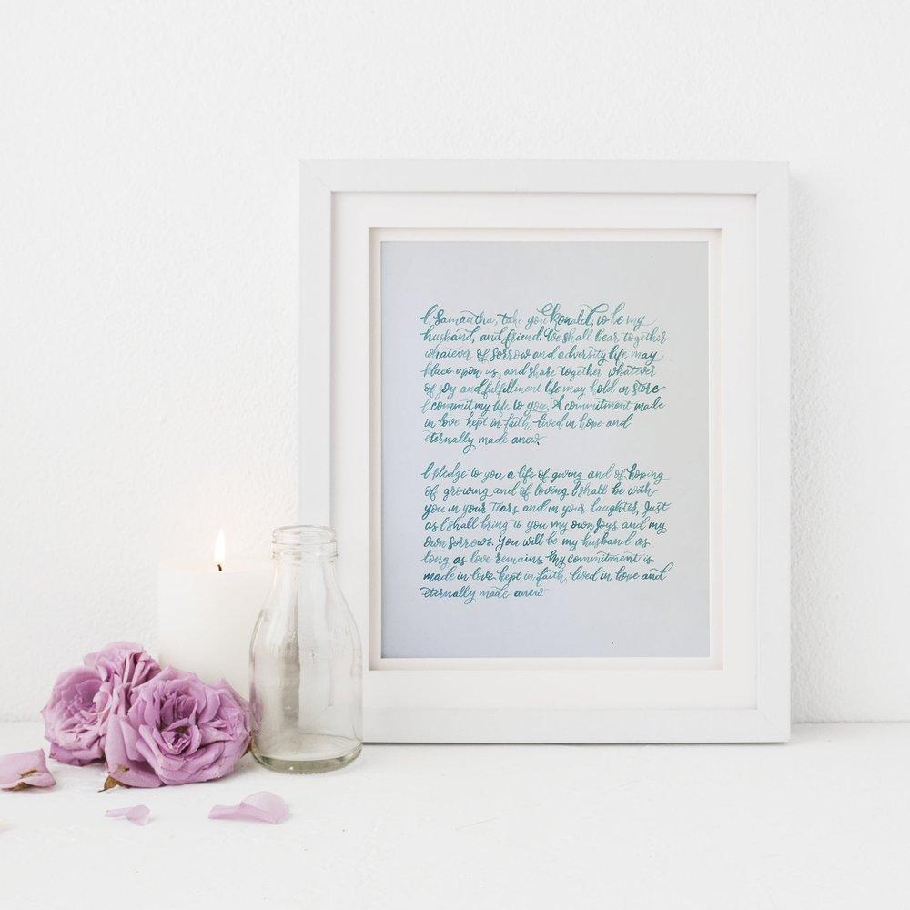 Custom Wedding Vow Brush Calligraphy Art Work Set Blush Blue