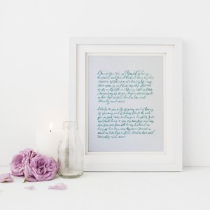 Gift shop blush blue custom vow art work in brush calligraphy hand made in raleigh north carolina from blush negle Image collections
