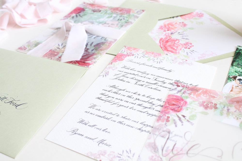 Romantic and simplistic custom designed elopement announcement. Blush and green with custom watercolor artwork. From Blush and Blue Designs.
