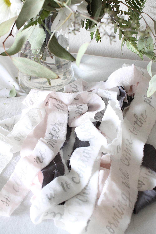 ribbon vow calligraphy for bouquet, soft and gorgeous, unique wedding idea