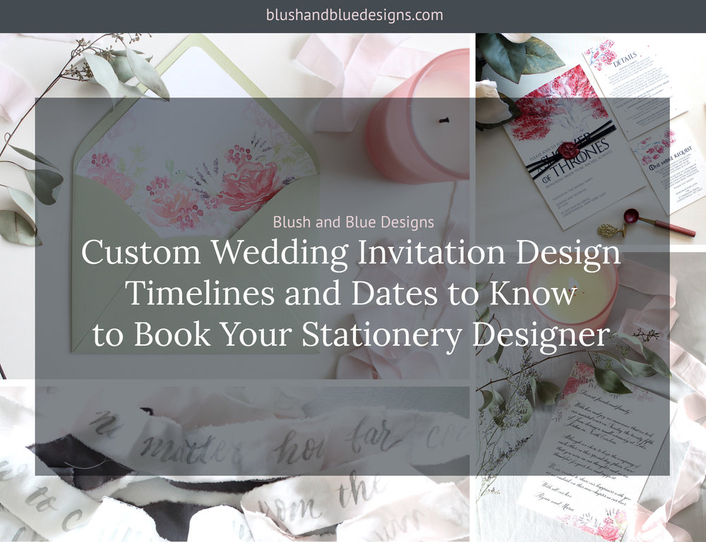 Custom wedding invitation design timelines and dates to know to custom wedding invitation design timelines and dates to know to book your stationery designer blush blue stopboris Image collections