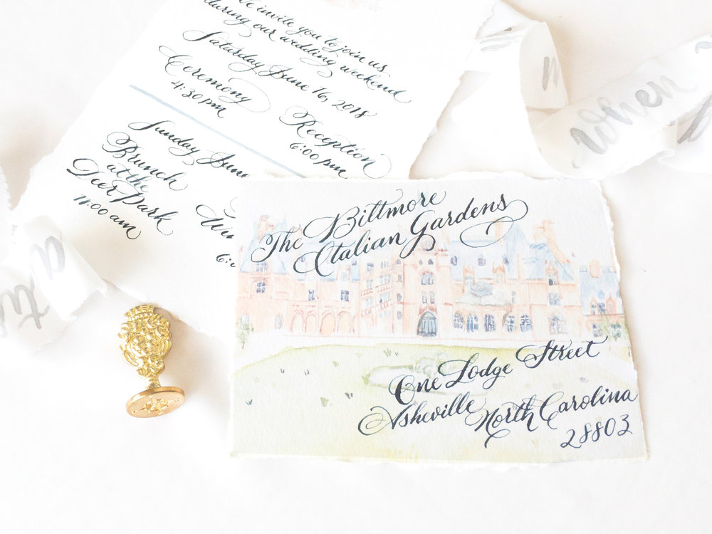 Biltmore Mansion Watercolor venue illustration, custom designed wedding invitation, handmade paper.