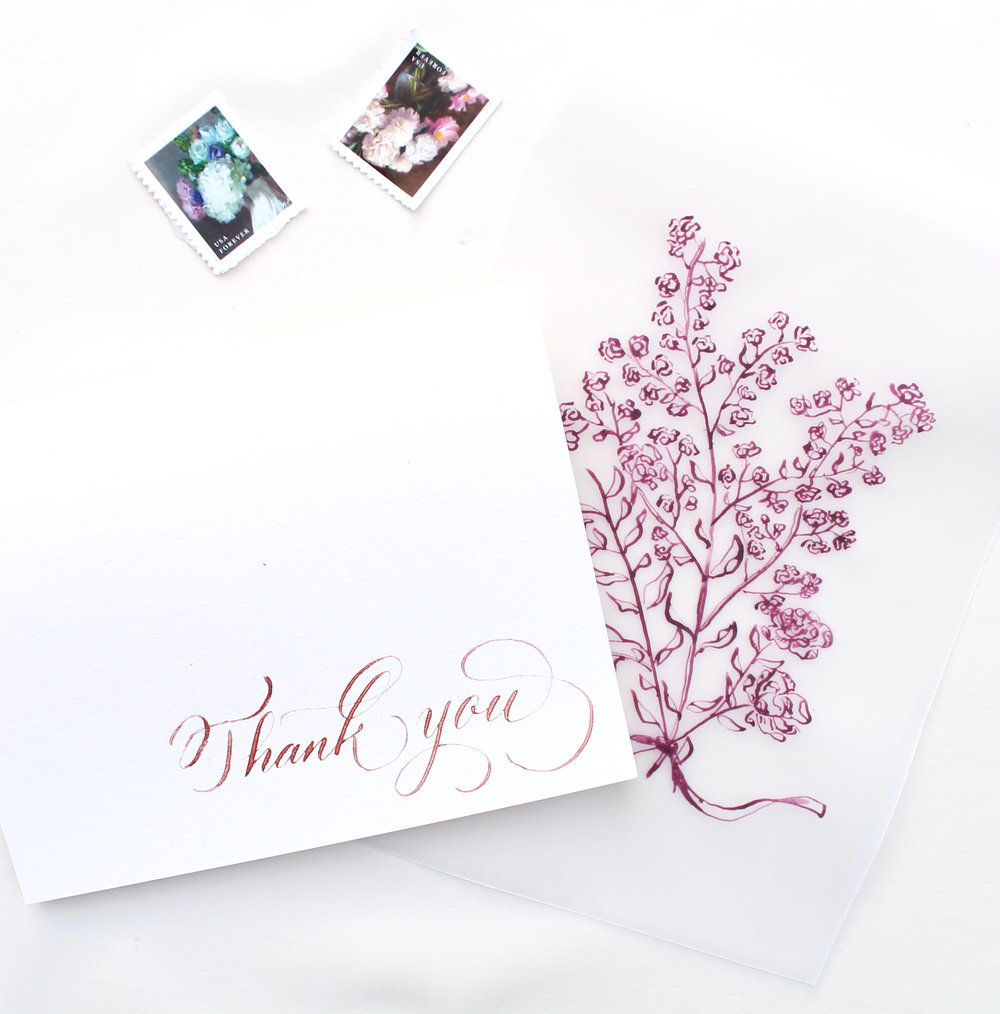thank you card design with custom drawing for Biltmore wedding invitation design, Raleigh - Blush and Blue Designs