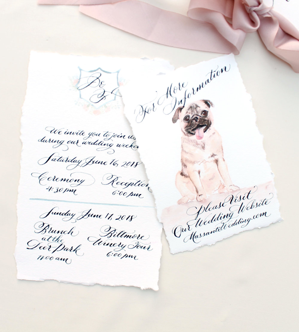 Custom wedding invitation design, custom pet portrait, dog wedding invitation design - Blush and Blue Designs, Raleigh North Carolina