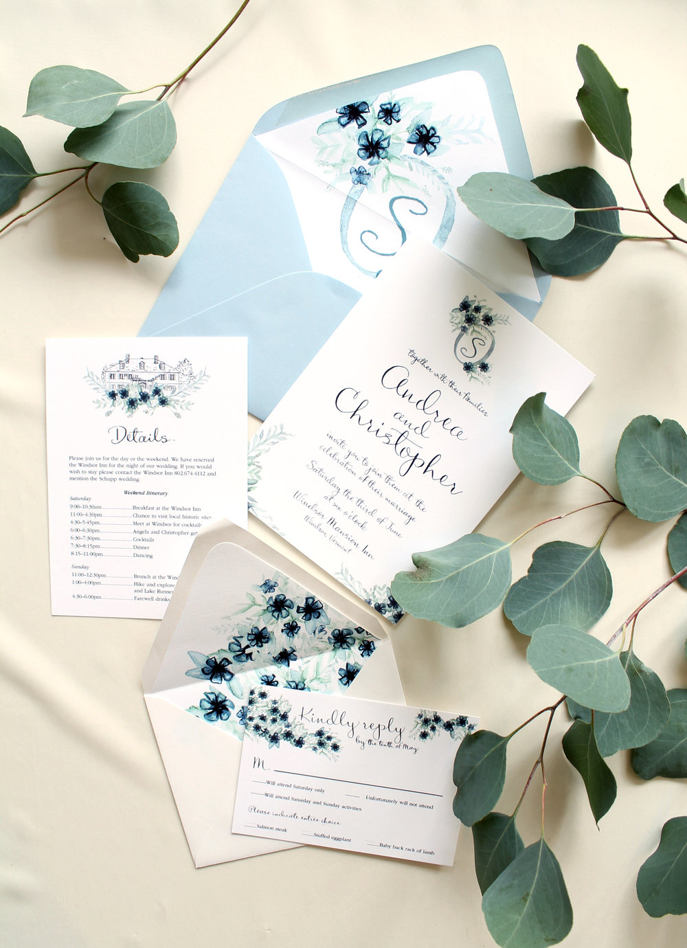 Blush and Blue Designs - Vermont custom wedding invitations, blue wedding invitations