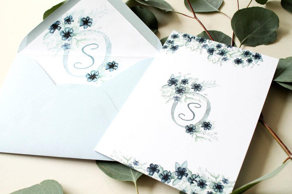 Blush and Blue Designs - Custom wedding invitations blue wedding, calligraphy wedding crest