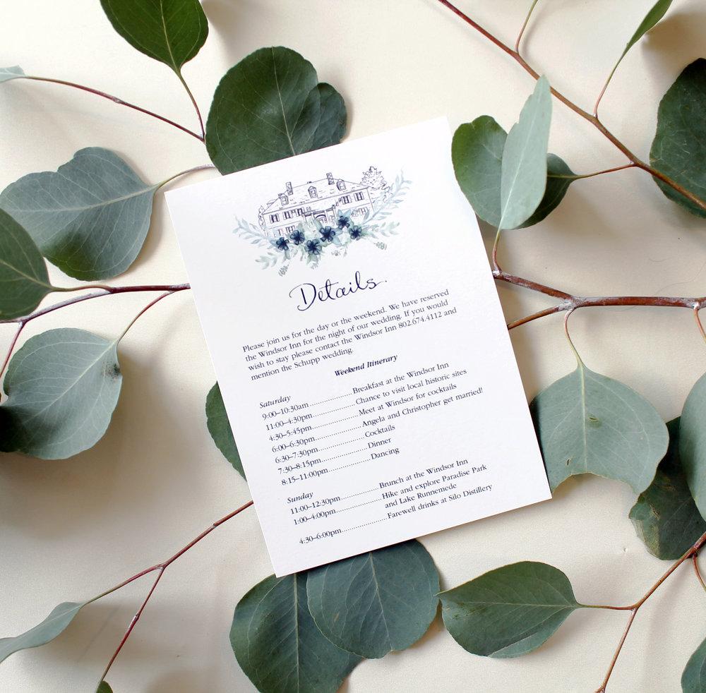 Custom calligraphy wedding invitations, wedding venue illustrator