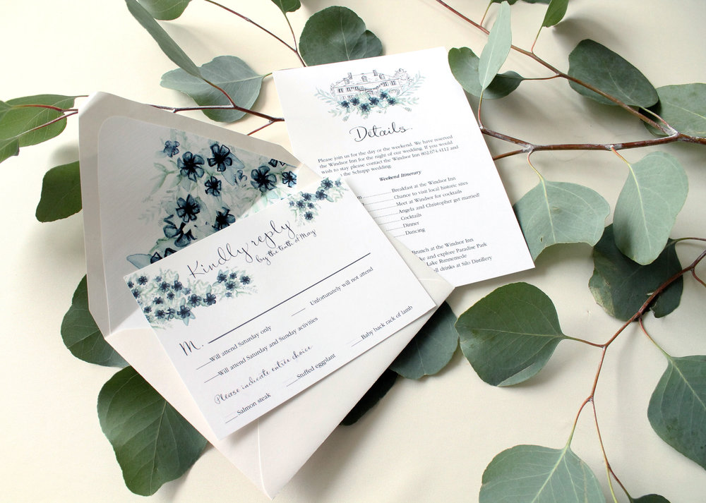 Custom wedding invitations, calligraphy and watercolor artwork. Raleigh wedding invitation designer