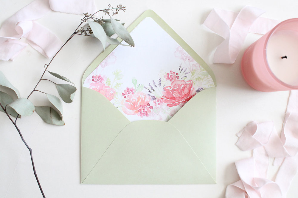 envelope liner, watercolor florals for elopement announcement, blush and greenery