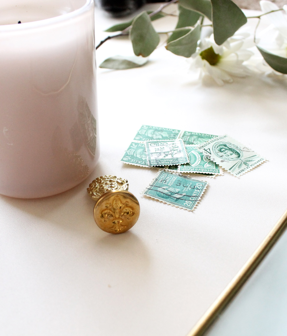 Vintage stamps and wax seal. Tip on when to order your materials if you are DIYing your wedding invitations.