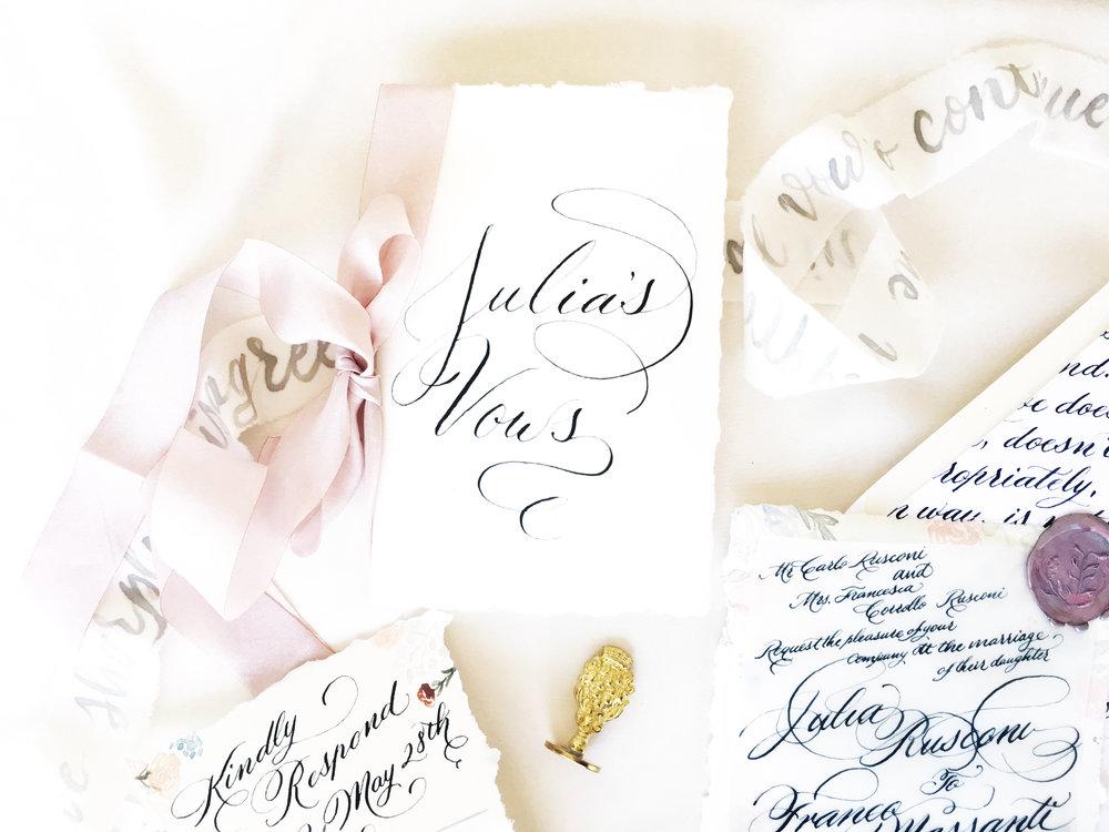 Custom Vow book design, wedding invitation design