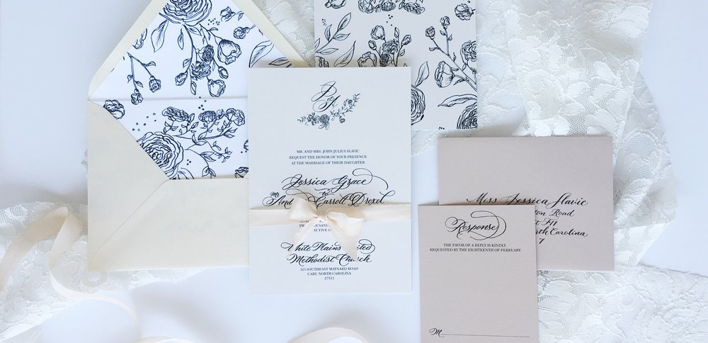 Cary, North Carolina Wedding Invitation Design, Calligraphy, simple and elegant