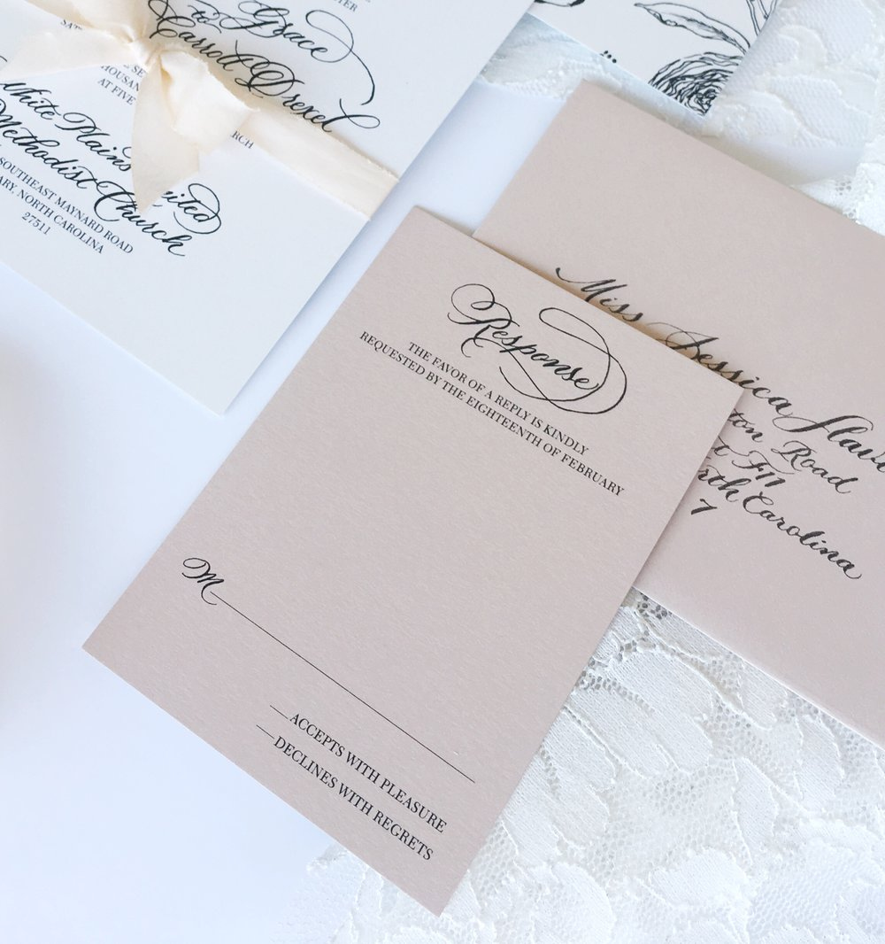 Response Card. Calligraphy wedding invitations, North Carolina. Simple and elegant.