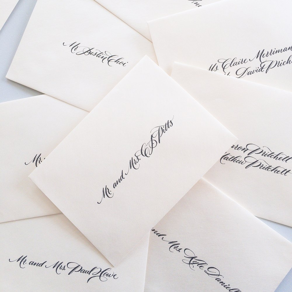Envelope calligraphy. Wedding invitation calligrapher.