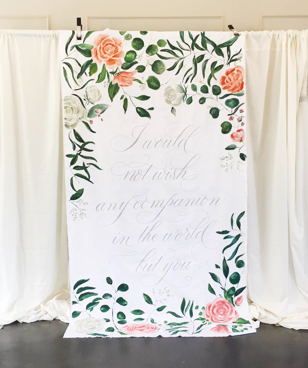 Gorgeous and unique wedding backdrop hand painted design by Blush and Blue Designs. North Carolina wedding. Hand painted flowers and quote