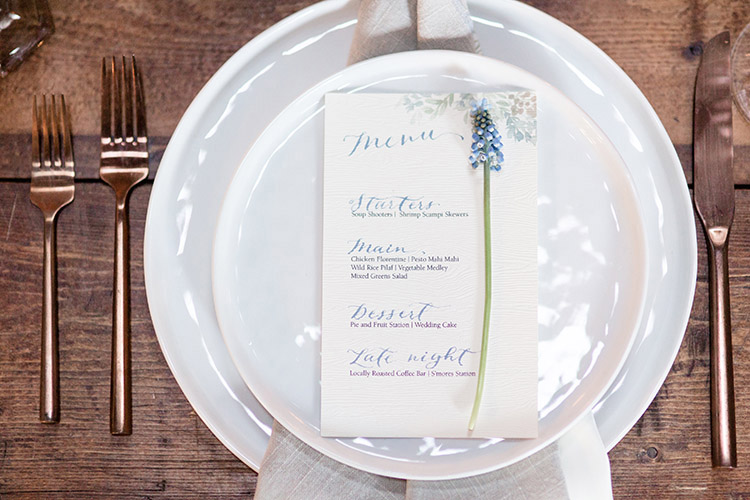 Wedding menu design, wood paper