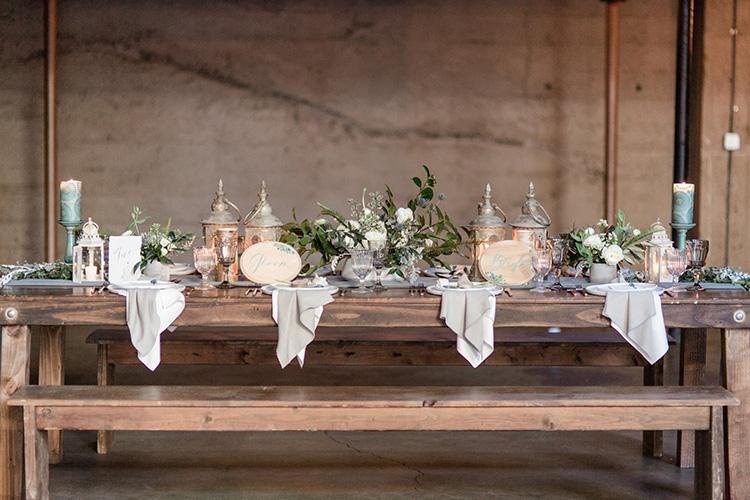 Wedding table design and decor. Rustic Chic Luce Loft wedding San Diego California