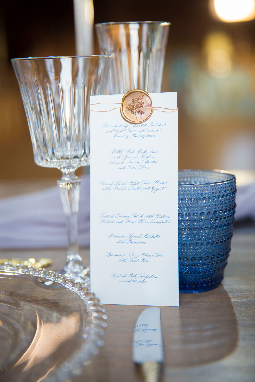 Rustic chic wedding menu design