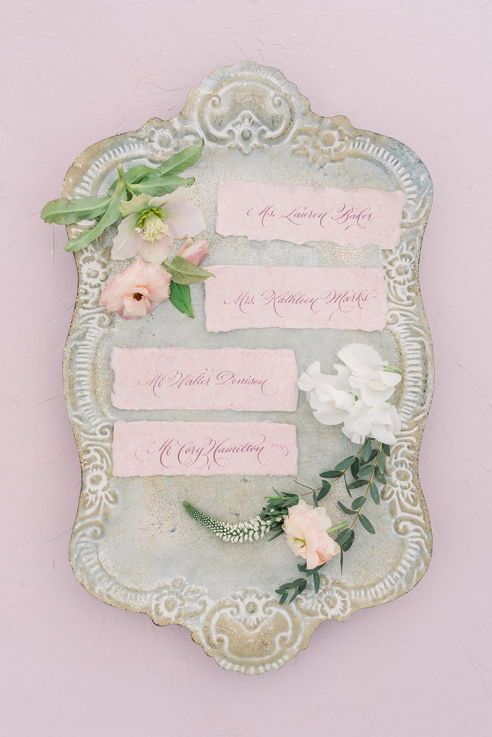 Calligraphy bouquet tags