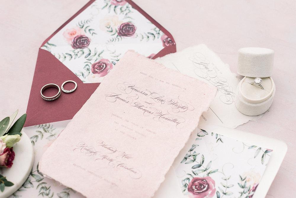 Pink and mauve wedding invitation design