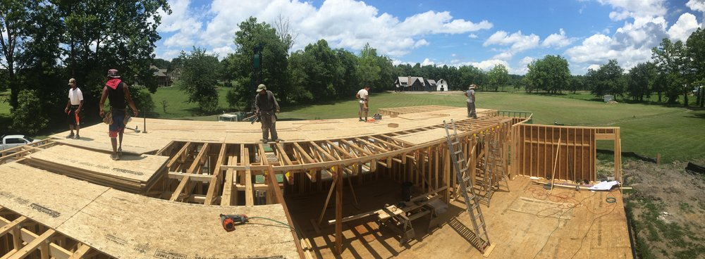 Second floor subfloor going down!