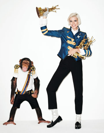 Agnyess Deyn as Michael Jackson shot by Terry Richardson for Harper's Bazaar