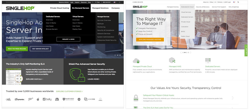 SingleHop website before (left) and after (right)