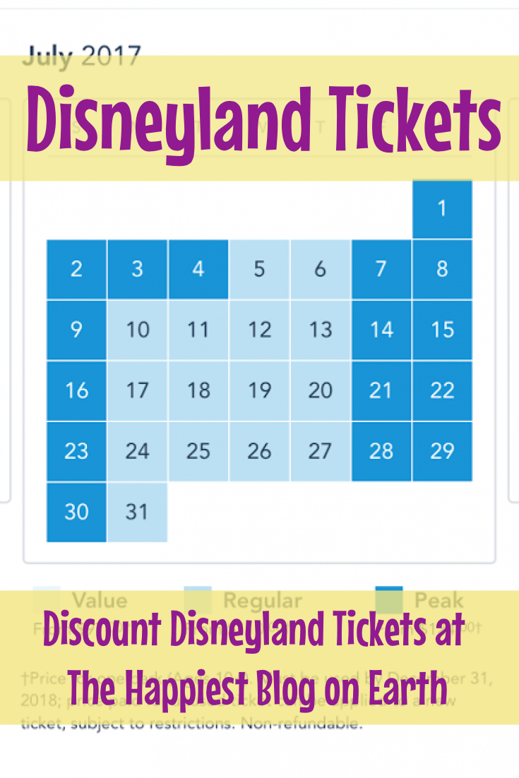 July Tickets Disneyland
