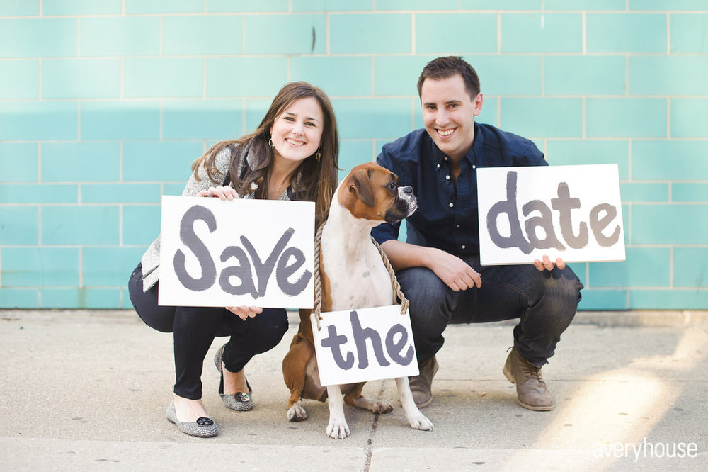 1 Chicago Engagement Shoot Avery House Photography boxer dog  save the date