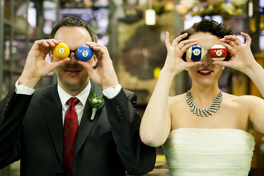 13 Architectual Artifacts Wedding Pen Carlson Photography Sweetchic Events Bride and Groom Pool Balls
