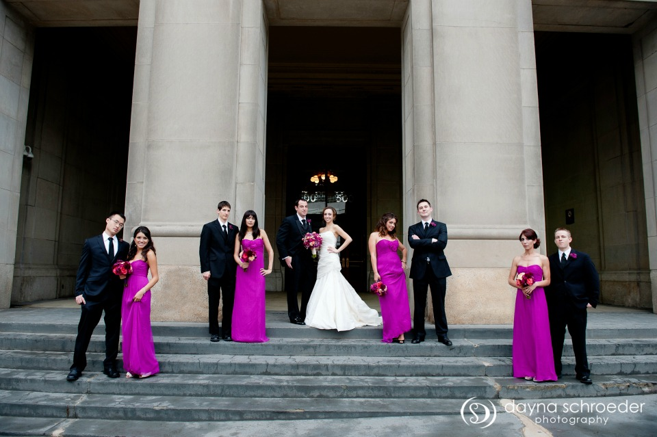 14 Westin River North chicago wedding sweetchic events dayna schroeder bridal party union station magenta bridesmaids dresses