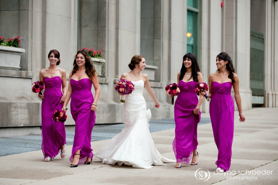 15 Westin River North chicago wedding sweetchic events dayna schroeder magenta bridesmaids dresses