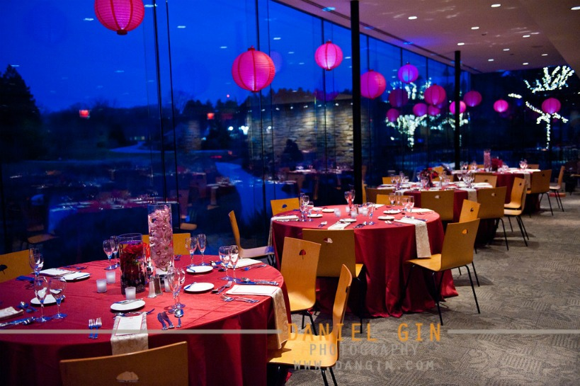 17  Morton Arboretum wedding Dan Gin photography Sweetchic Events gingko room red chinese paper lantern sunset