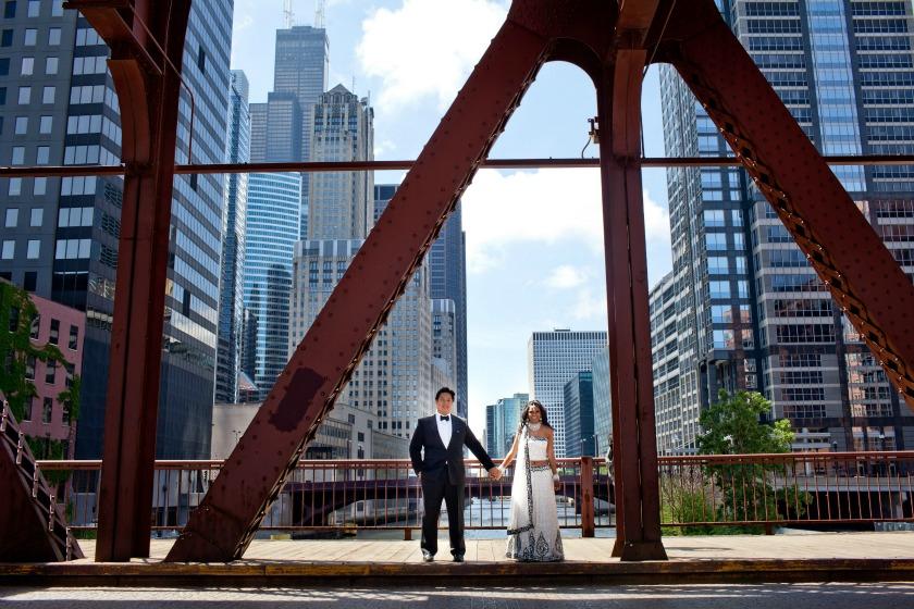 2 Chicago Cultural Center Chinese Indian Wedding Kinzie St Bridge