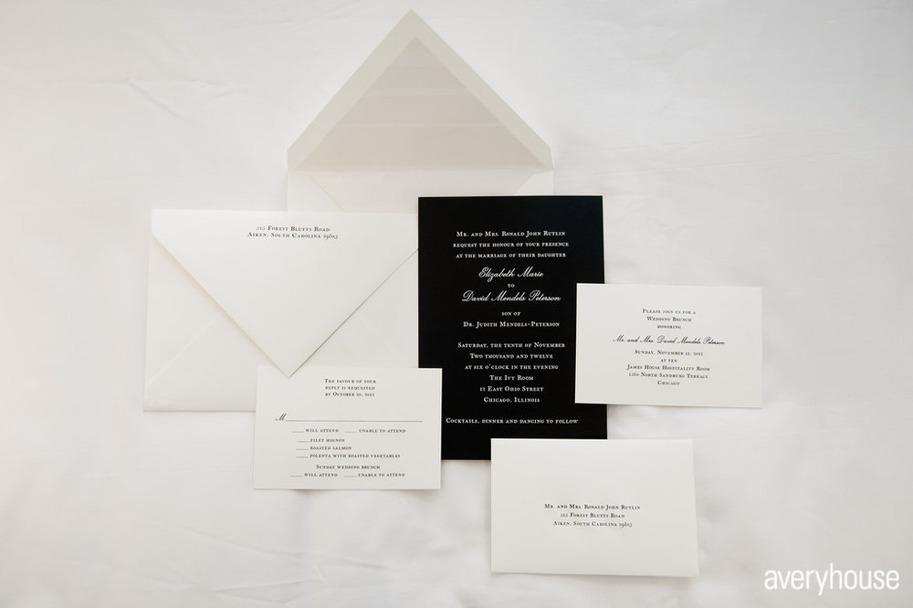2. The Ivy Room. Avery House. Sweetchic Events. Black and White Stationary. Invitations.