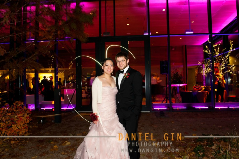 20 Morton Arboretum wedding Dan Gin photography Sweetchic Events nightime shot fuchsia uplighting