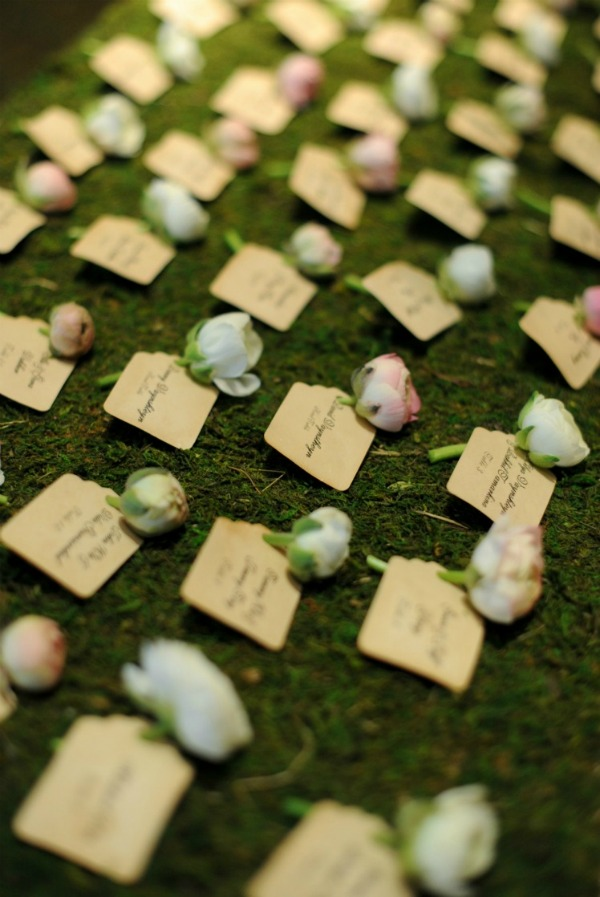 Erica Rose Photography Vale of Enna Sweetchic ranunculous moss escort card display