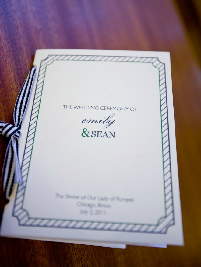 23 Chicago History Museum Wedding Dennis Lee Photo Sweetchic Events ceremony program grosgrain ribbon