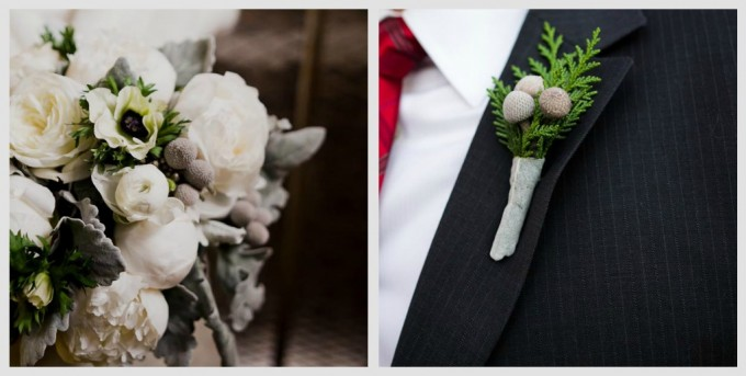 Architectural Artifacts Wedding Pen Carlson Photography Sweetchic Events Asrai Garden white peonies, dusty miller, berries, silver anemones bouquet and Silver Berry Boutonniere