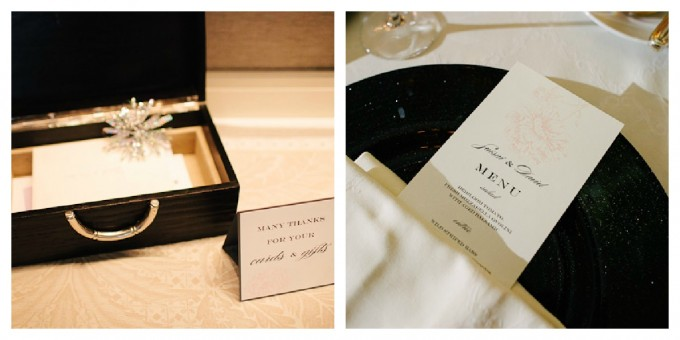 Suisui.David. Waldorf Astoria. Pen Carlson Photography. Sweetchic Events. Menu. Card Box. White and Pink Menus on Black Chargers.