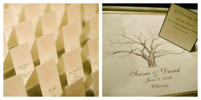 Suisui.David.Waldorf Astoria. Pen Carlson Photography. Sweetchic Events. Escort Cards.Guest Book. White and Pink Escort Cards. Thumbprint 'leaf' Guest Book
