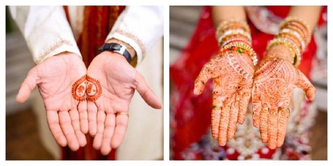 Maya Sid Chicago Botanic Gardens Indian wedding henna hands