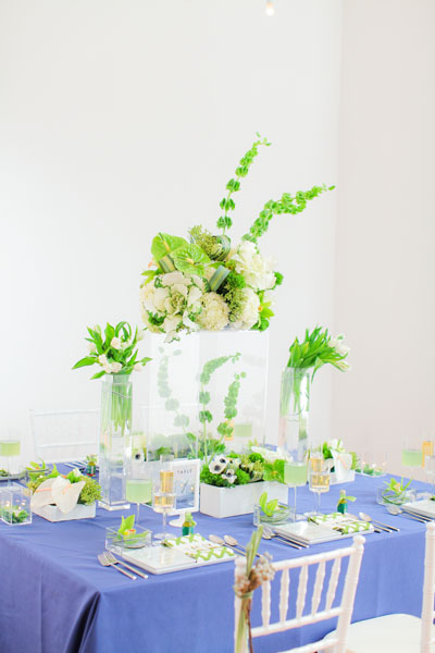 Sweetchic green modern fresh tablescape hinojosa photography. loft. navy blue linens. white chiavari chairs