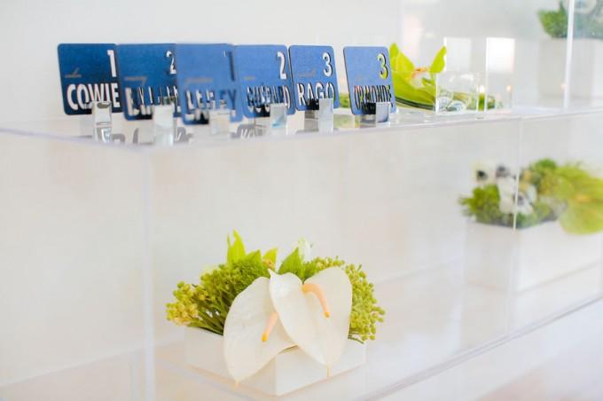 Sweetchic green modern fresh tablescape hinojosa photography. loft. modern escort card arrangement. laser cut escort cards. acrylic pedestals